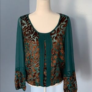 Lucky Brand long sleeve silk top
